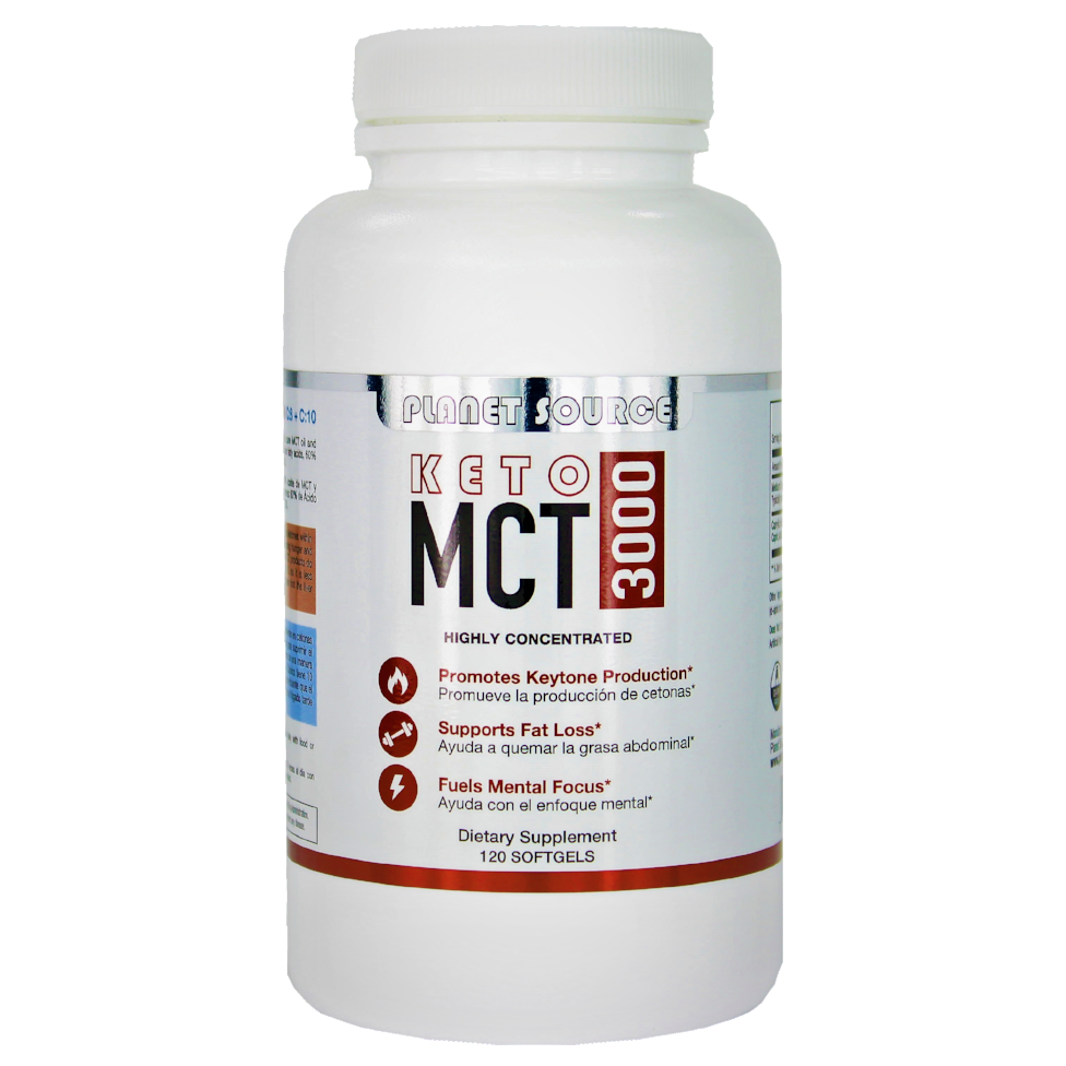 KETO MCT (Medium chain triglycerides) 3000 - C:8 60% / C:10 40% -120 liquid caps - Planet Source