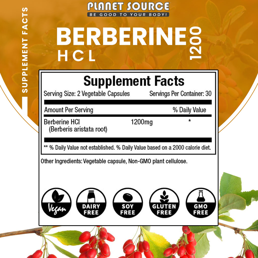 Berberine HCL 1200 mgs 60 caps - Planet Source