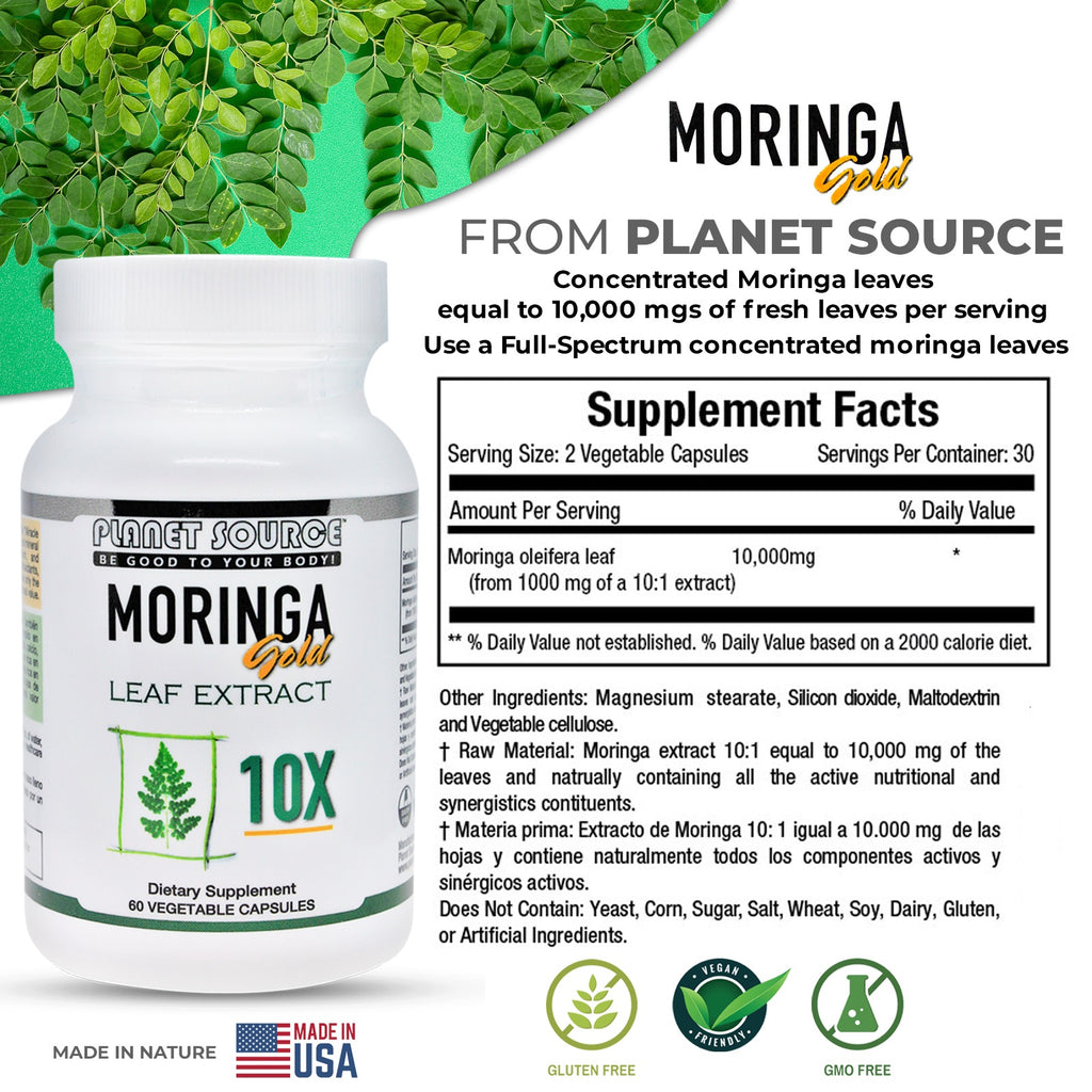 Moringa Gold 10X (10:1) Leaf Extract 60 caps - Planet Source