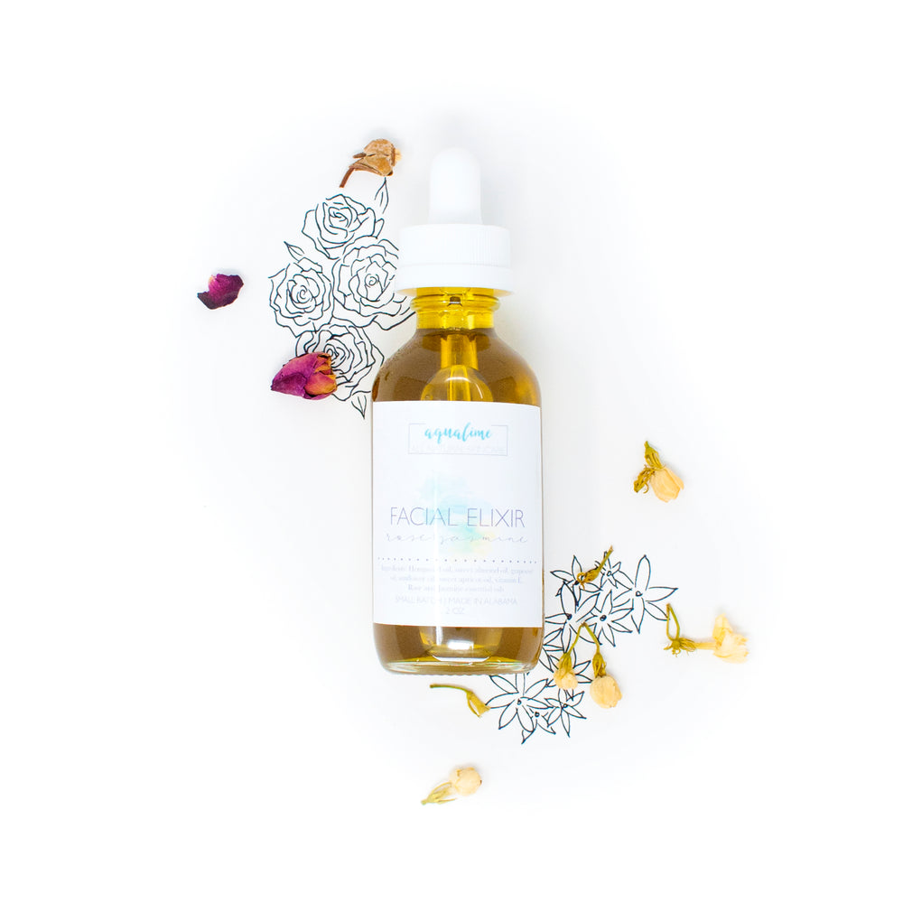 Small batch made in Alabama, this custom-blend facial oil is made from: hemp seed oil, sweet almond oil, grapeseed oil, sunflower oil, apricot oil, vitamin E, jasmine, and rose essential oils.  Use this elixir with our facial roller for a luxurious facial massage, or by itself as a beautifully balancing moisturizer.