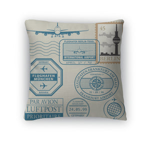 Germany Travel Stamps Throw Pillow Cover - Coddiwomple Chic