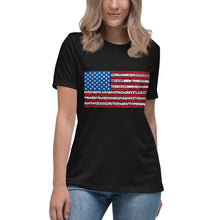 American Flag 50 States Typography Stars Stripes Women's Relaxed T-Shirt - Coddiwomple Chic