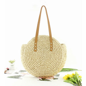 Vintage Round Rattan Shoulder Bag - Coddiwomple Chic