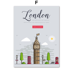 New York Paris London Rome City Landscape Wall Art Canvas Painting Nordic Posters And Prints Wall Pictures Baby Kids Room Decor - Coddiwomple Chic