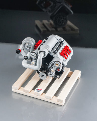 Chevy LS turbo engine lego model on wooden pallet