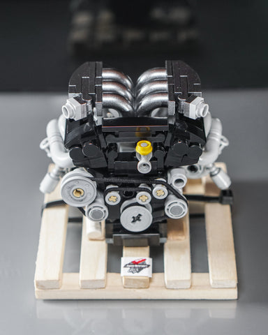 Nissan GTR VR38 VR38DETT engine lego model on wooden pallet
