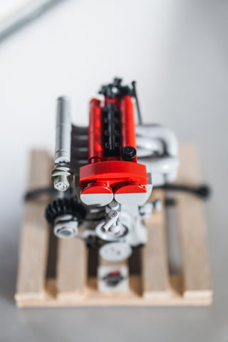 Red Mazda Miata B6 lego engine with pallet front view