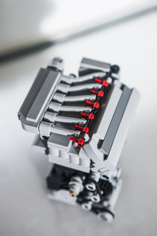 Audi VW Vr6 6 cylinder 3.2 lego engine model top view