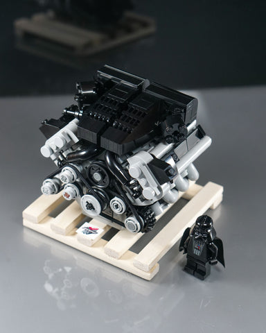BMW E60 E63 M5 M6 S85 engine lego model on wooden pallet