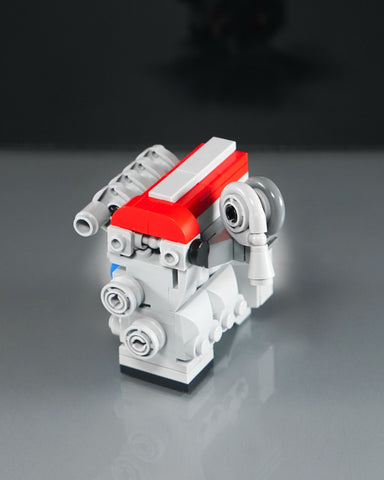 red top Nissan SR20 turbo engine lego model