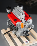 Ferrari Colombo V12 lego engine model with wooden pallet close up