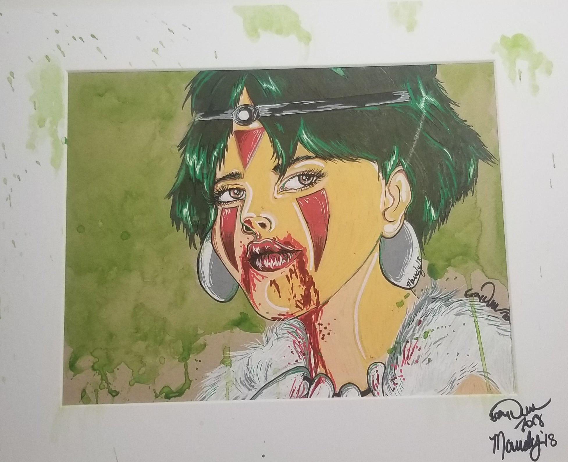Original Art (Princess Mononoke Mixed Media)