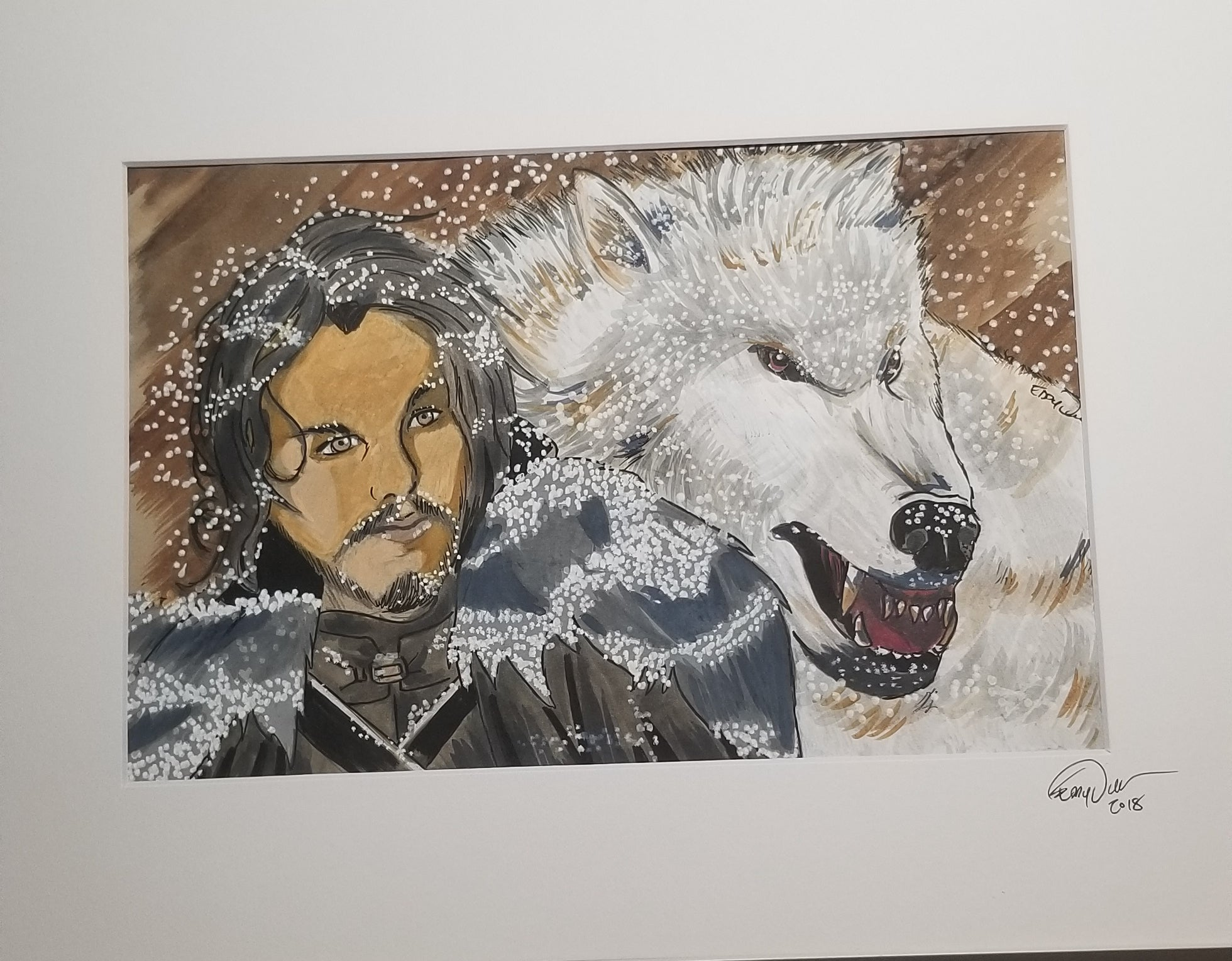 Original Art (Jon Snow and Ghost Mixed Media)