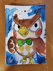 Blathers Watercolor Card (Animal Crossing)