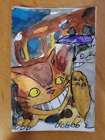 Catbus Watercolor Card (My Neighbor Totoro)