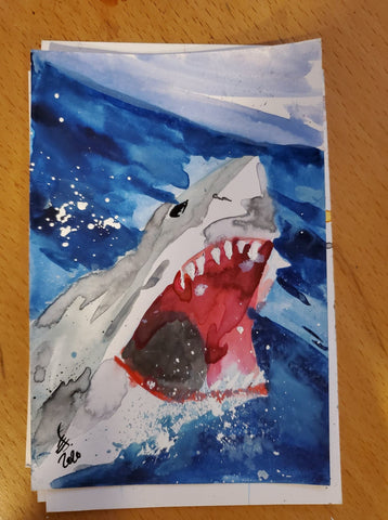 Jaws Watercolor Card