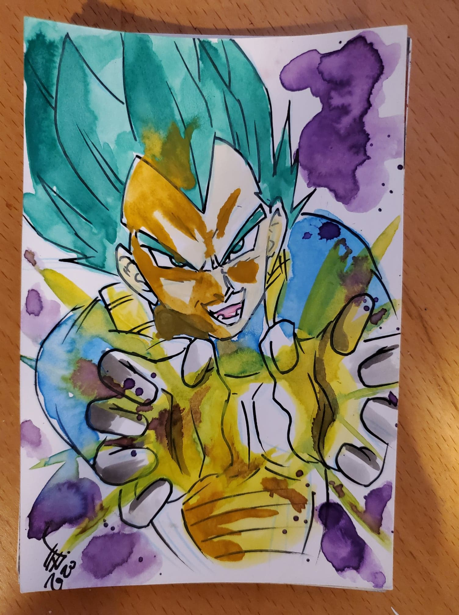 Vegeta Watercolor Card (Dragonball Super)