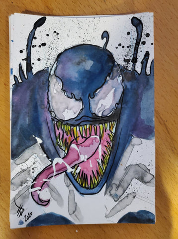 Venom Watercolor Card