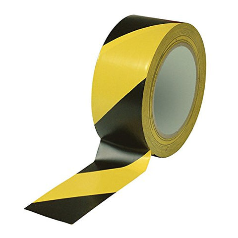Tape PVC  Hazard 50mm x 33m Black / Yellow Stripe