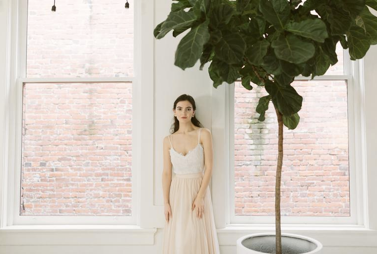 Two-piece wedding dress styling tips: Thetis top and skirt