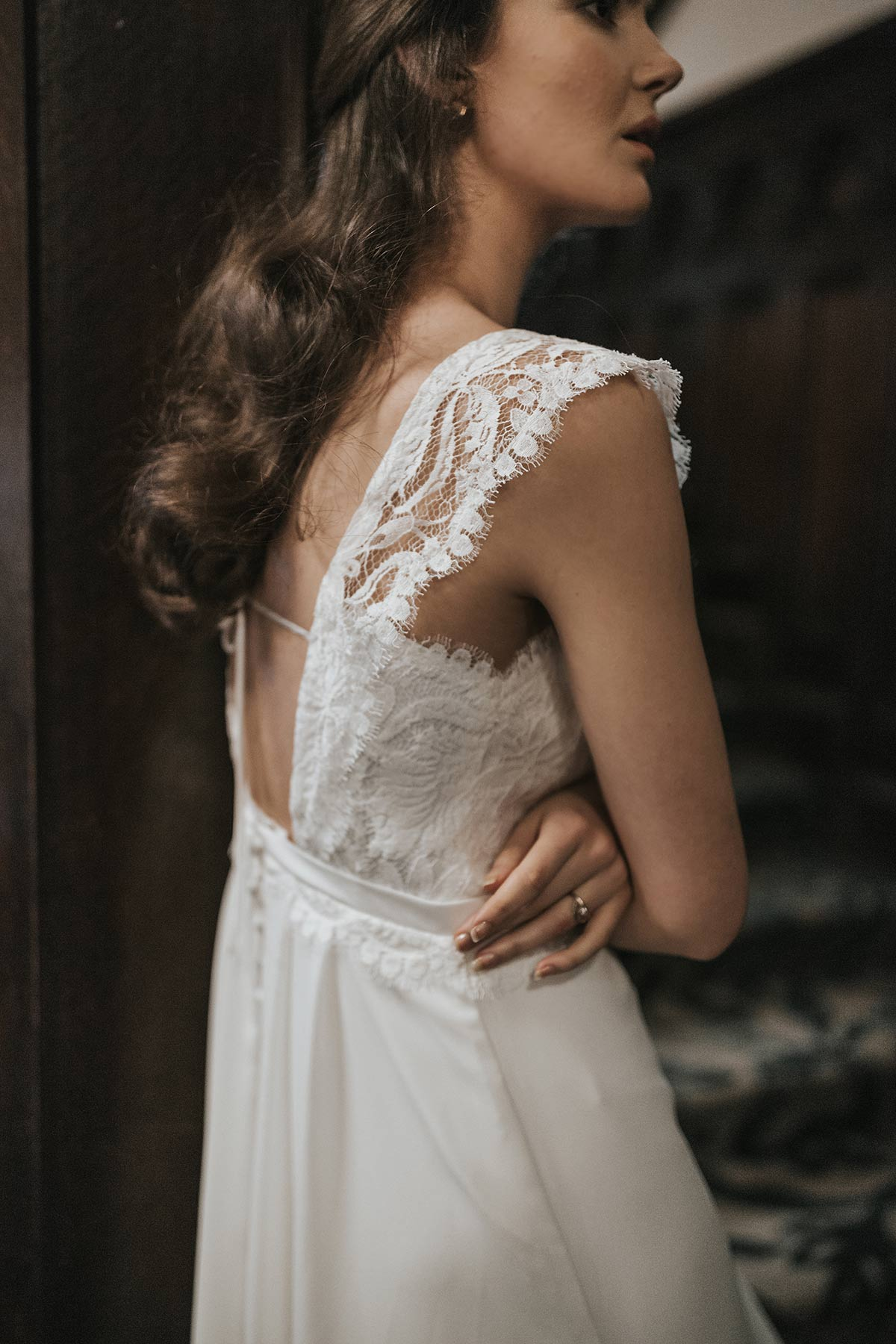 Lavictoire editorial Solange wedding dress open back side lace straps