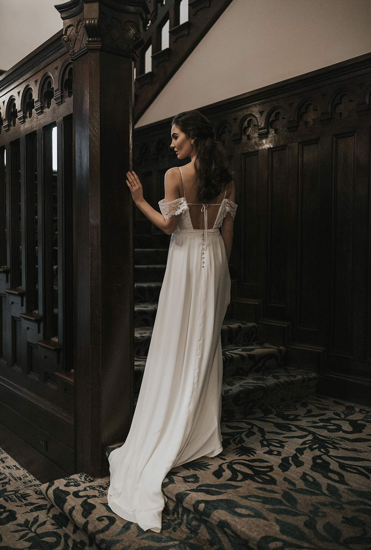 Lavictoire editorial Solange wedding dress open back lace straps