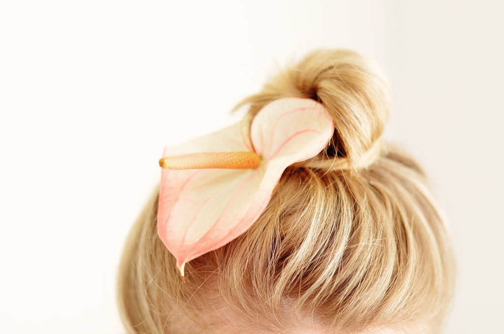 Anthurium used in hair decoration