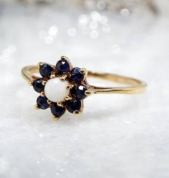 Sapphire and opal engagement ring