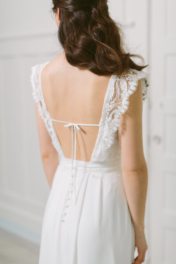 Lavictoire Solange wedding dress back lace bodice
