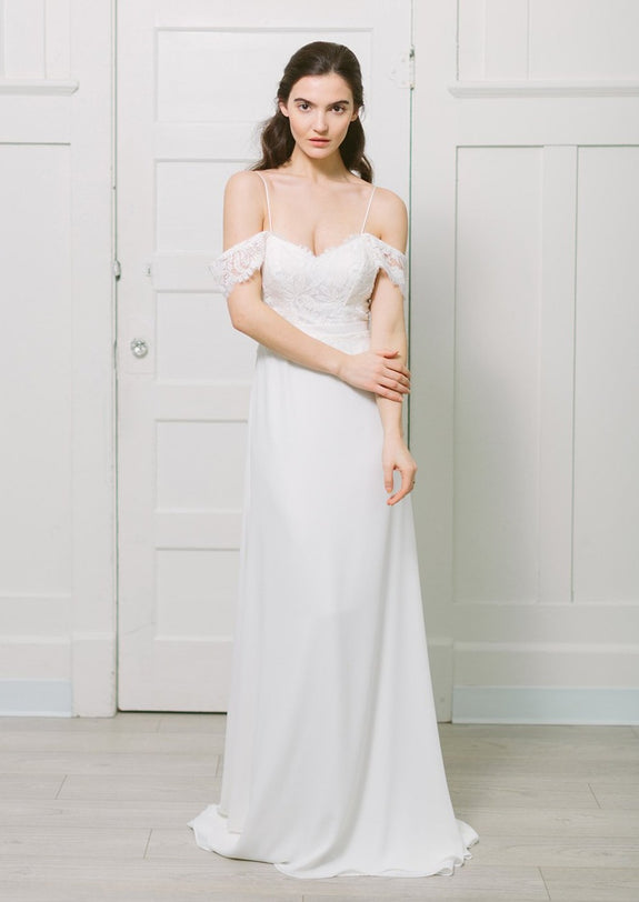 Lavictoire Solange wedding dress front with off the shoulder lace strap