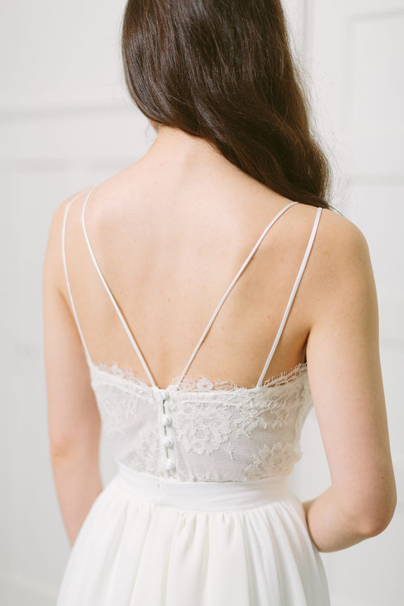 Lavictoire Thetis top wedding dress back lace and straps with Thetis skirt