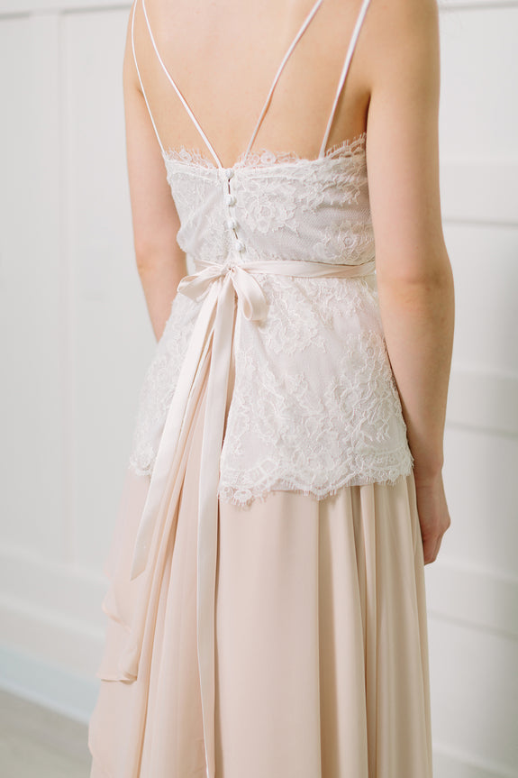 Lavictoire Thetis top wedding dress back lace over Thetis skirt with light nude belt