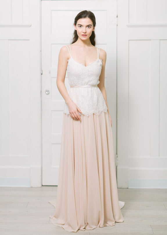 Lavictoire Thetis top wedding dress front lace with light nude Thetis skirt