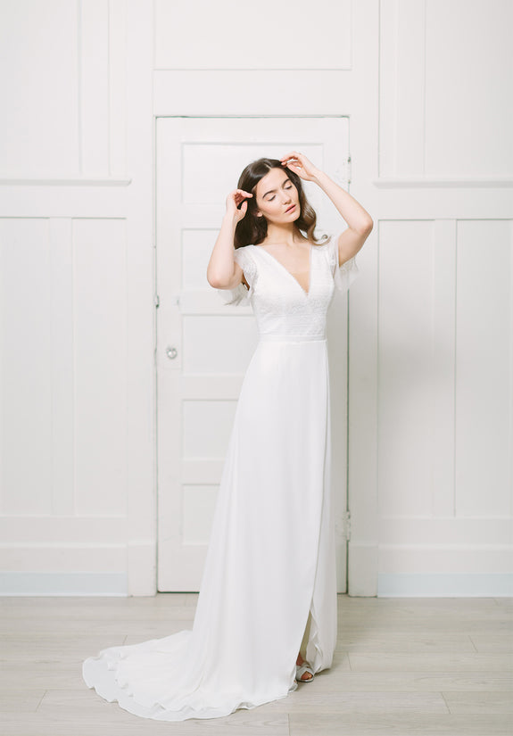 Lavictoire Union wedding dress front and side short sleeve