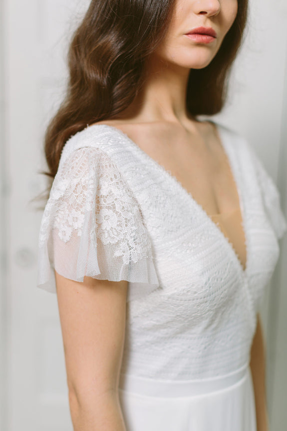 Lavictoire Union wedding dress front short sleeve lace