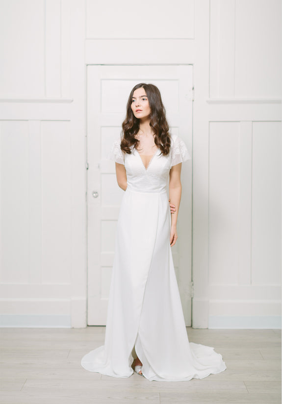 Lavictoire Union wedding dress front short sleeve