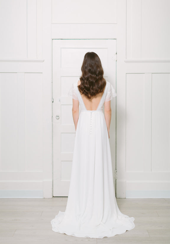 Lavictoire Union wedding dress open back short sleeve
