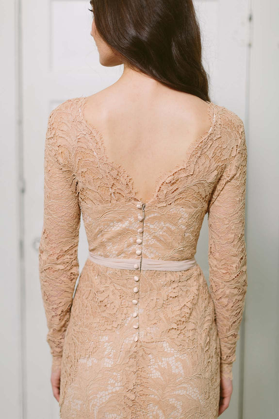 Lavictoire Victoria long sleeve wedding dress back with buttons lace light nude
