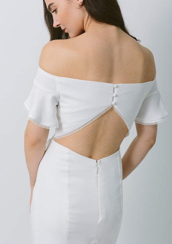 Lavictoire Indigo wedding dress back detail