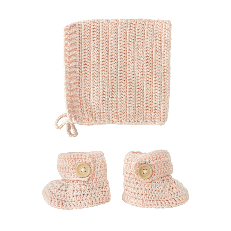 Crochet Handmade Bonnet & Bootie Set - Peach