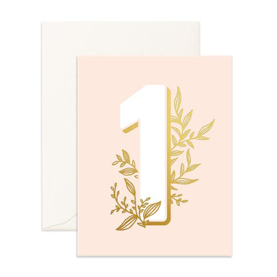 1st Birthday Card - Floral