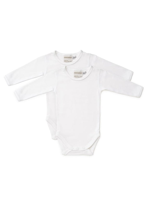 2 Pack Long Sleeve White Bodysuits