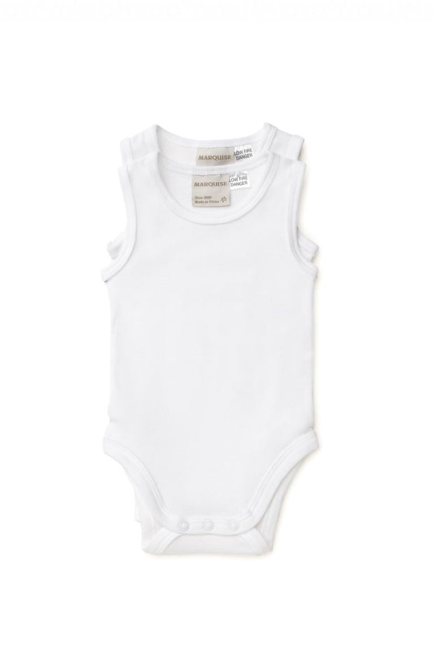 2 Pack Sleeveless White Bodysuits