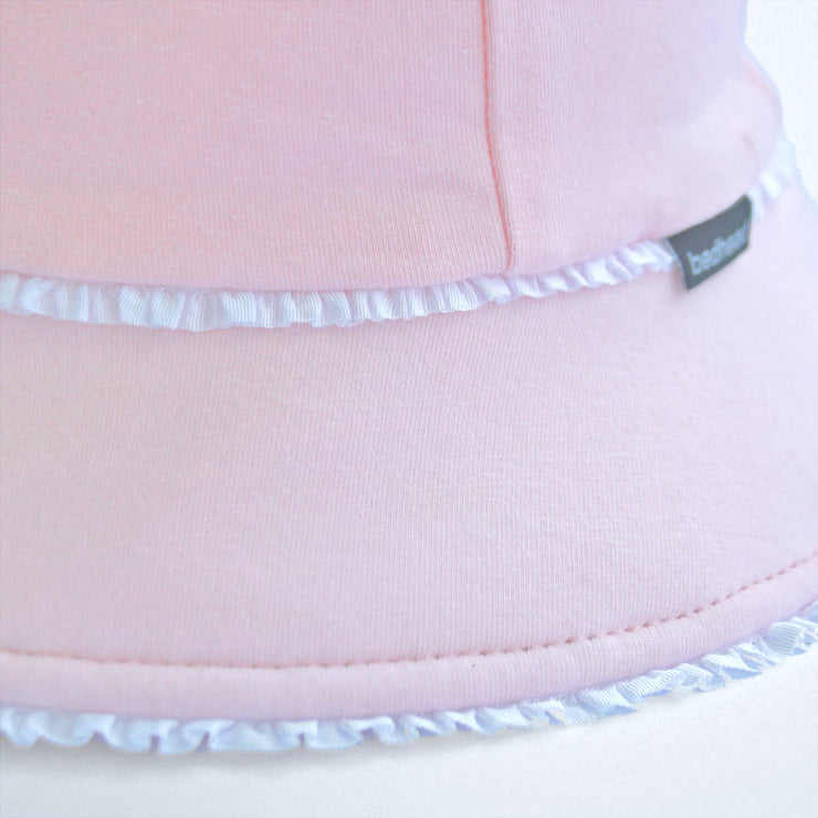 Girls Ruffle Trim Bucket Hat - Blush