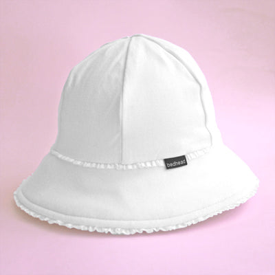 Girls Ruffle Trim Bucket Hat - White