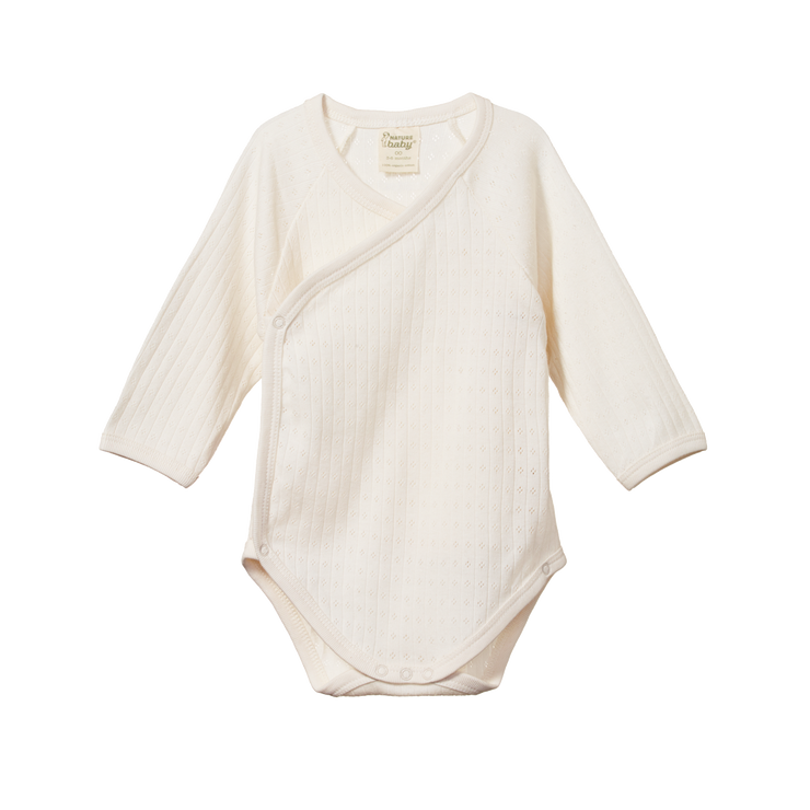 Long Sleeve Bodysuit - Natural Pointelle Kimono