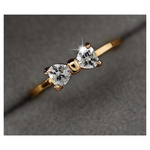 Gold Crystal Bow Ring