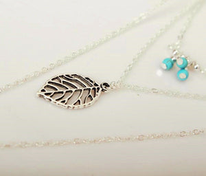 Feather and Leaf 3 Layer Necklace