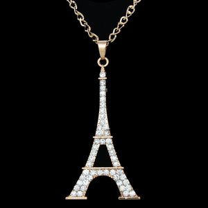 Crystal Eiffel Tower Pendant Necklace