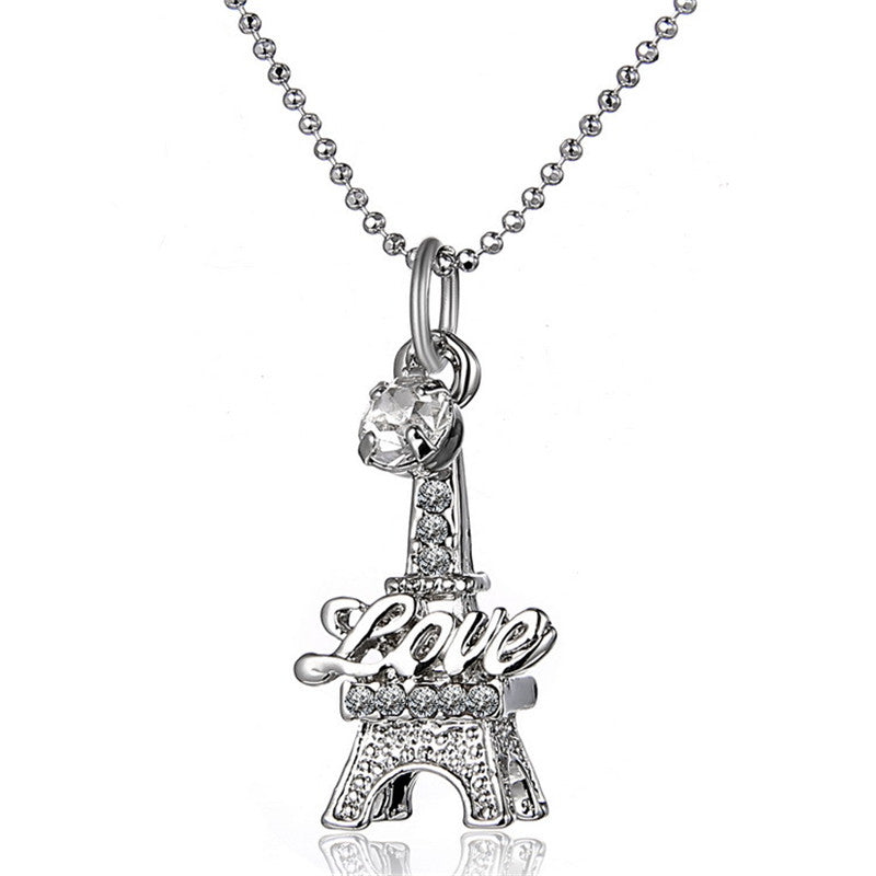 Eiffel Tower Love Crystal Necklace